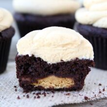 Chocolate Peanut Butter Cup Cupcakes from www.twopeasandtheirpod.com #recipe #cupcakes