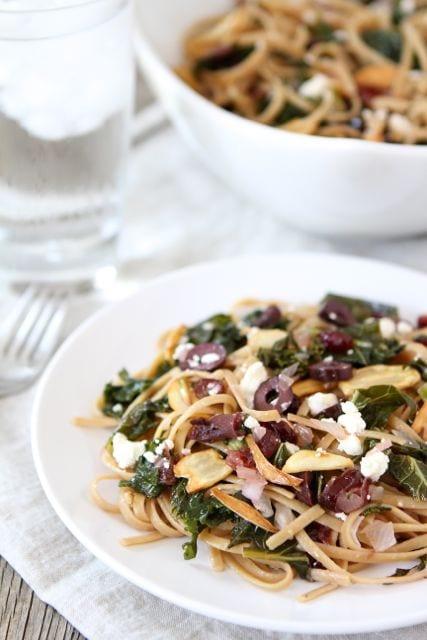 Pasta with Kale, Kalamata Olives, Cranberries, Toasted Garlic & Feta ...