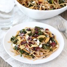 Pasta with Kale, Kalamata Olives, Dried Cranberries, Toasted Garlic & Feta from www.twopeasandtheirpod.com #recipe