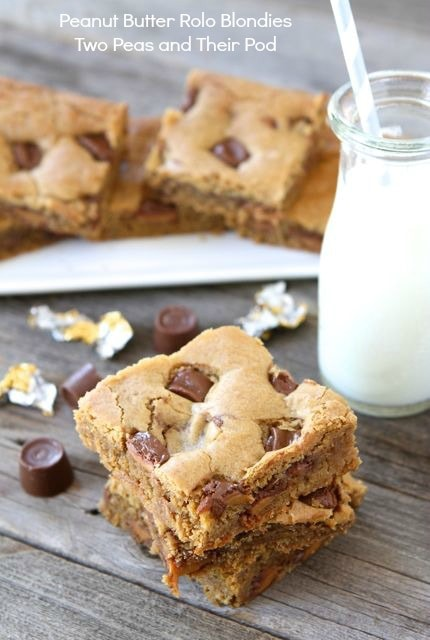 Peanut Butter Rolo Blondies | Peanut Butter Blondie Recipe | Two Peas ...
