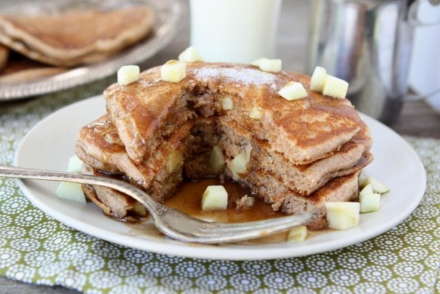 Whole Wheat Apple Cinnamon Pancakes with Cinnamon Syrup | Two Peas and ...