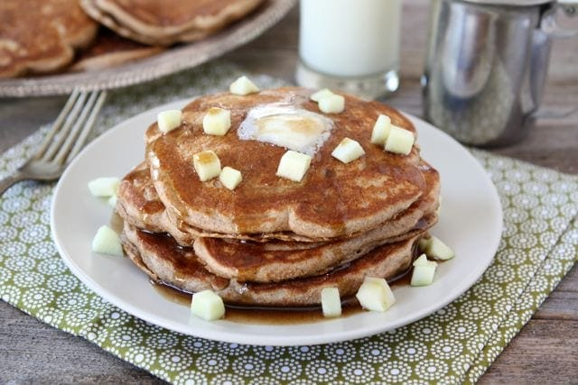 Whole Wheat Apple Cinnamon Pancakes with Cinnamon Syrup