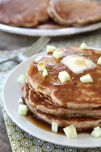 Whole Wheat Apple Cinnamon Pancakes with Cinnamon Syrup from Two Peas ...