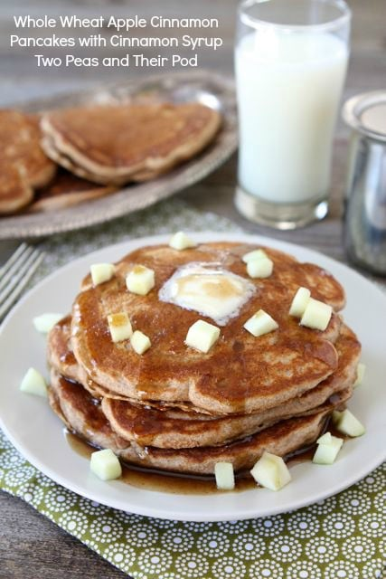 Whole Wheat Apple Cinnamon Pancakes with Cinnamon Syrup from www ...