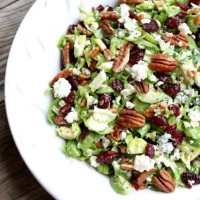 Chopped Brussels Sprouts with Dried Cranberries, Pecans & Blue Cheese from www.twopeasandtheirpod.com #recipe #vegetarian #glutenfree