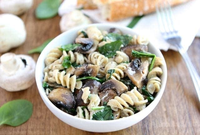 Goat Cheese Pasta with Spinach & Mushrooms | Goat Cheese ...