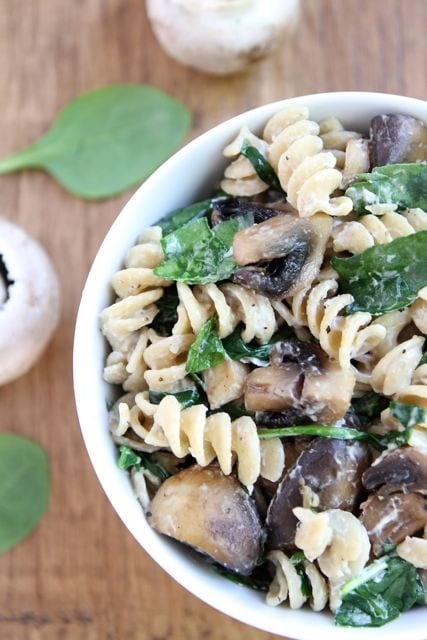 Goat Cheese Pasta with Spinach & Mushrooms | Goat Cheese Pasta | Two ...