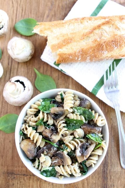 Creamy Goat Cheese Pasta With Spinach And Roasted Mushrooms Recipes ...