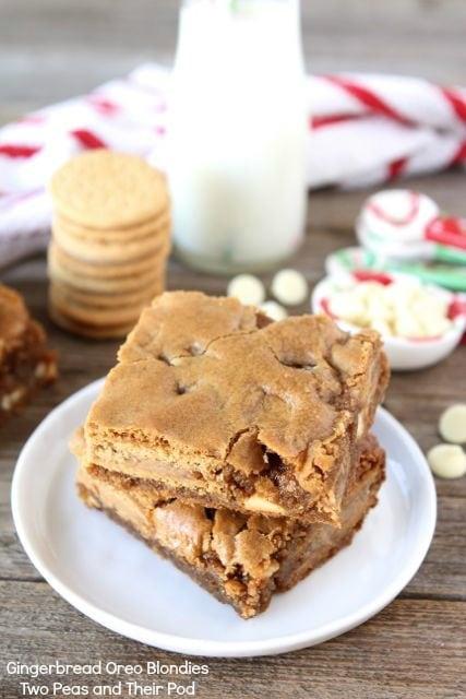 Gingerbread Oreo Blondies | Gingerbread Oreo Recipe | Two Peas & Their ...
