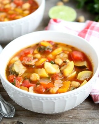 Vegetable Lime Chickpea Chili from www.twopeasandtheirpod.com #recipe #vegetarian #meatless
