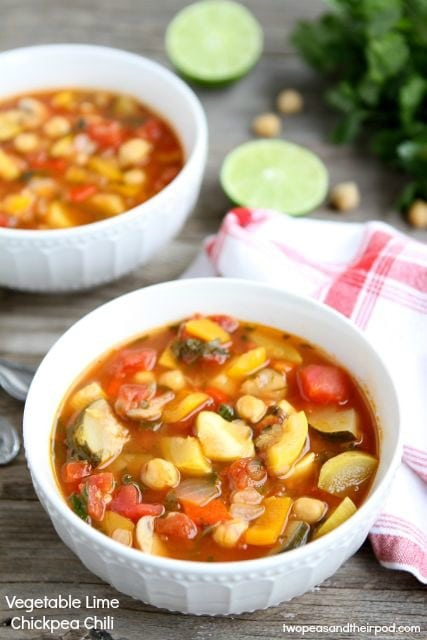 Vegetable Lime Chickpea Chili from www.twopeasandtheirpod.com #recipe ...