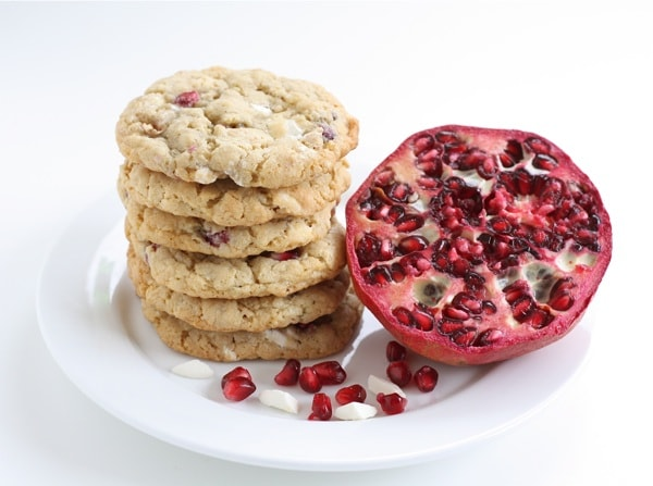 Pomegranate White Chocolate Chunk Cookies from www.twopeasandtheirpod.com #recipe