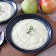 Roasted Apple, Pear & Parsnip Soup from www.twopeasandtheirpod.com #recipe #vegetarian