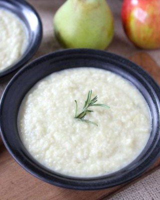 Roasted Apple, Pear & Parsnip Soup from www.twopeasandtheirpod.com #recipe #vegetarian