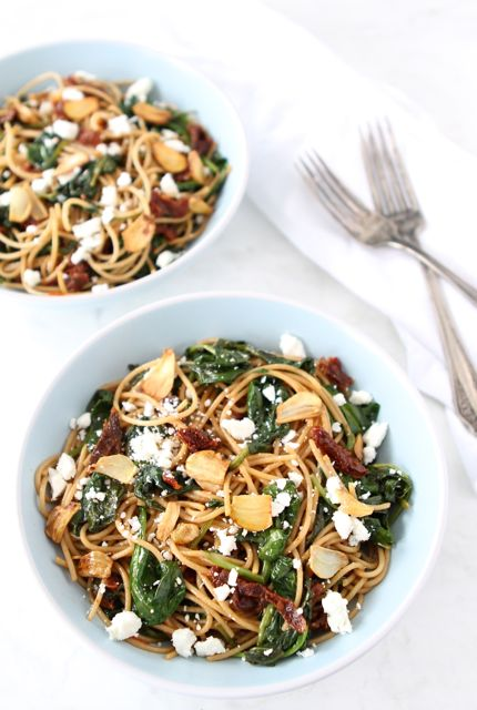 Spaghetti with Sun Dried Tomatoes & Spinach | Pasta Recipe | Two Peas ...