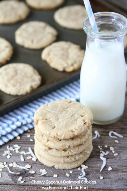 Chewy Coconut Oatmeal Cookies | Coconut Cookie Recipe | Two Peas ...