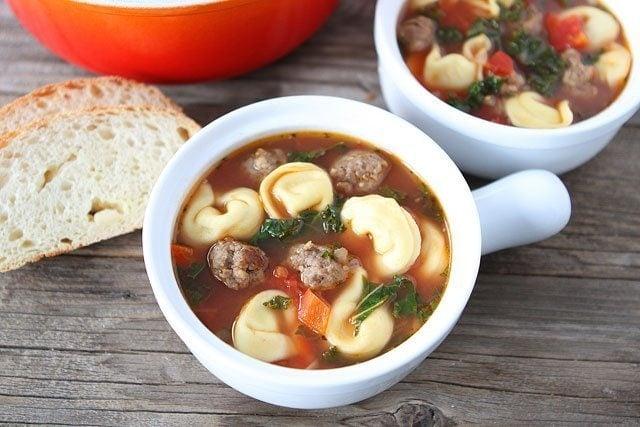 Italian Sausage Tortellini Soup Recipe on www.twopeasandtheirpod.com