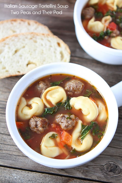 Italian Sausage Tortellini Soup on www.twopeasandtheirpod.com Everyone always asks for this recipe!