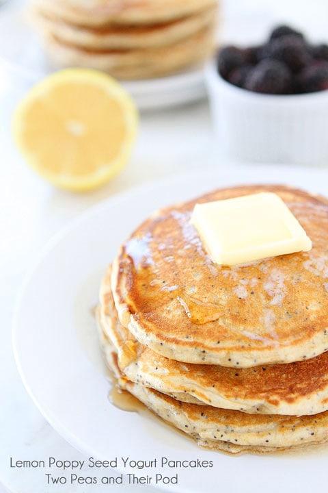 Lemon Poppy Seed Pancakes | Yogurt Pancake Recipe | Two Peas & Their ...