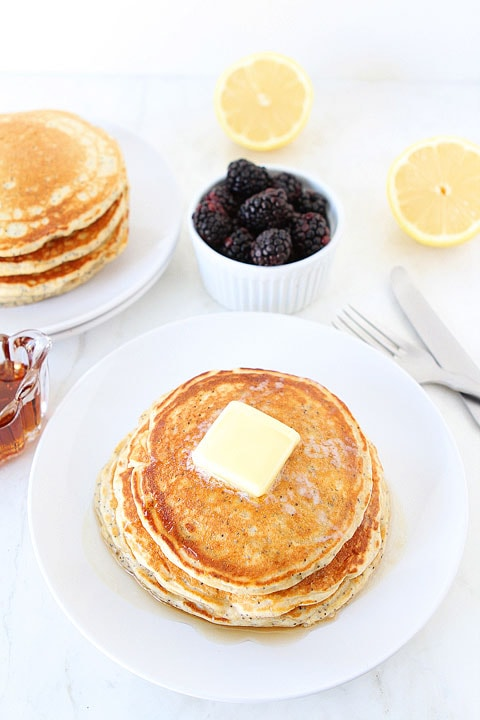 Lemon Poppy Seed Pancakes | Yogurt Pancake Recipe | Two Peas & Their ...