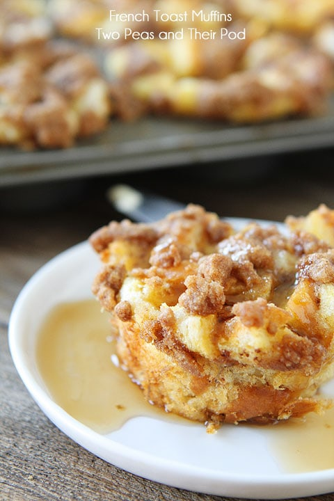Baked French Toast Muffins Recipe on twopeasandtheirpod.com