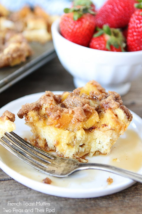 Baked French Toast Muffins with Streusel Topping on twopeasandtheirpod.com
