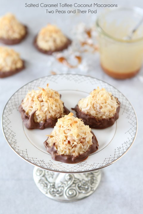 Salted Caramel Toffee Coconut Macaroons on twopeasandtheirpod.com