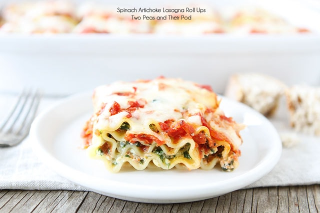 Spinach Artichoke Lasagna Roll Ups on twopeasandtheirpod.com Our family loves this easy recipe!