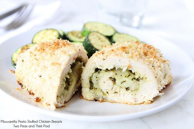 Mozzarella Pesto Stuffed Chicken Breasts | Chicken Recipe | Two Peas ...