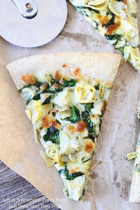 Spinach Artichoke Pesto Pizza | Pesto Pizza Recipe | Two Peas & Their ...