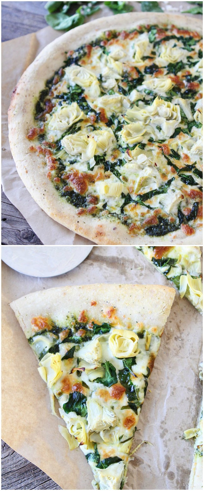 Spinach Artichoke Pesto Pizza on twopeasandtheirpod.com One of my all-time favorite pizzas!