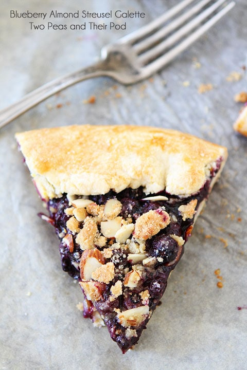 Blueberry Almond Streusel Galette on twopeasandtheirpod.com Galette dough is SO much easier than pie dough. This recipe is easy and SO good!