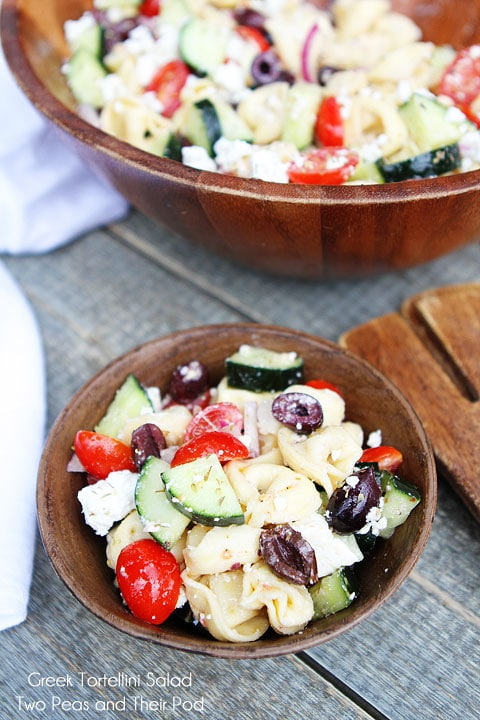 Greek Tortellini Salad Recipe on twopeasandtheirpod.com My favorite pasta salad!