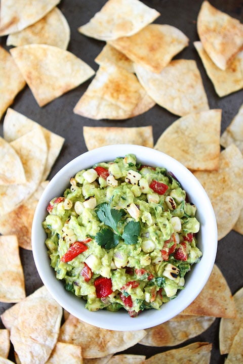 Roasted Corn & Red Pepper Guacamole on twopeasandtheirpod.com #recipe