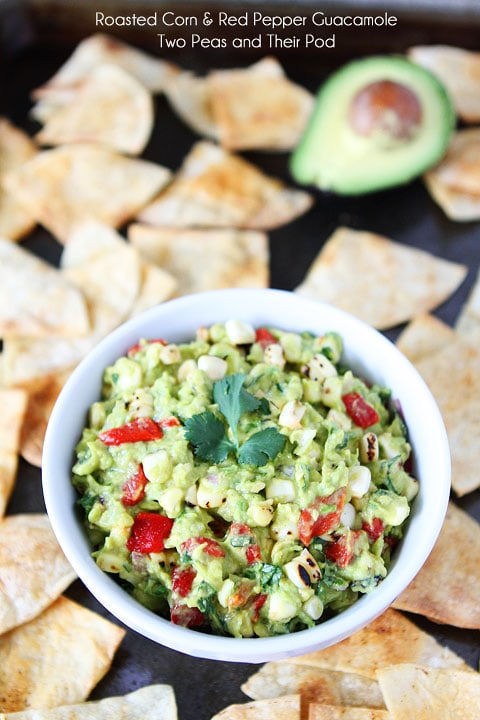 Roasted Corn & Red Pepper Guacamole Recipe on twopeasandtheirpod.com