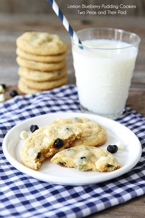 Lemon Blueberry Pudding Cookies | Pudding Cookie Recipe | Two Peas ...