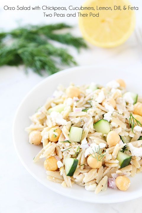 Whole Wheat Orzo Salad with Chickpeas, Cucumbers, Lemon, Dill, & Feta Recipe on twopeasandtheirpod.com