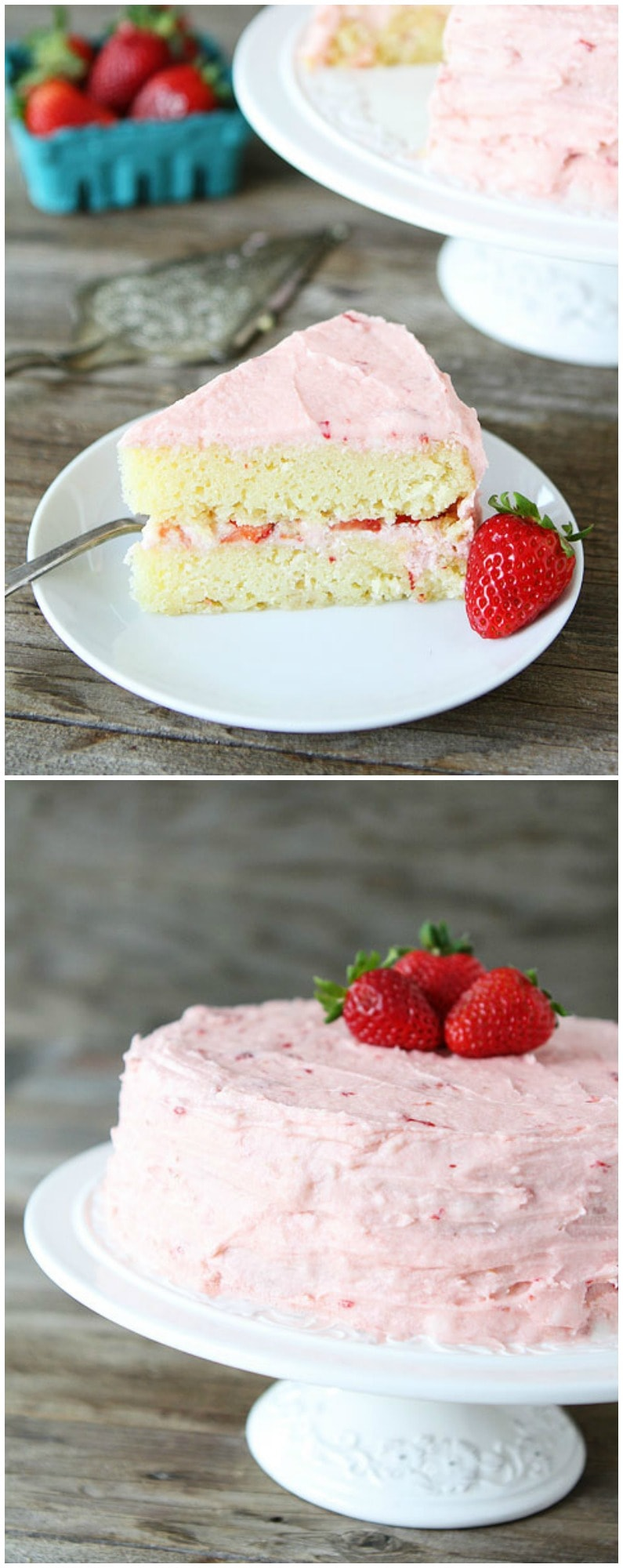 Strawberry Lemonade Cake Recipe on twopeasandtheirpod.com This pretty cake is perfect for spring and summer!