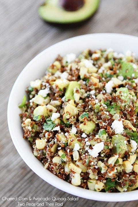Charred Corn & Avocado Quinoa Salad Recipe on twopeasandtheirpod.com A simple and healthy summer salad!