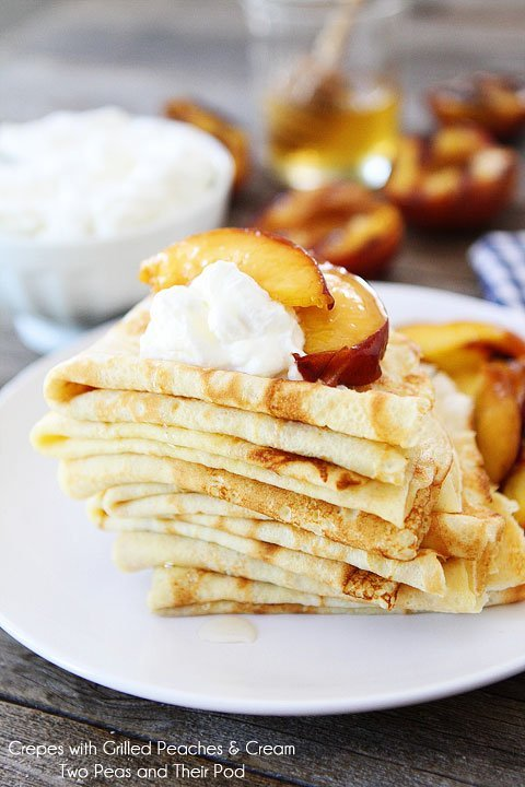Crepes with Grilled Peaches & Cream | Grilled Peaches | Two Peas ...