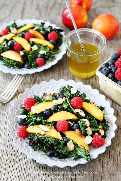 Grilled Kale Salad with Berries & Nectarines Recipe on twopeasandtheirpod.com A simple, healthy, and beautiful summer salad!