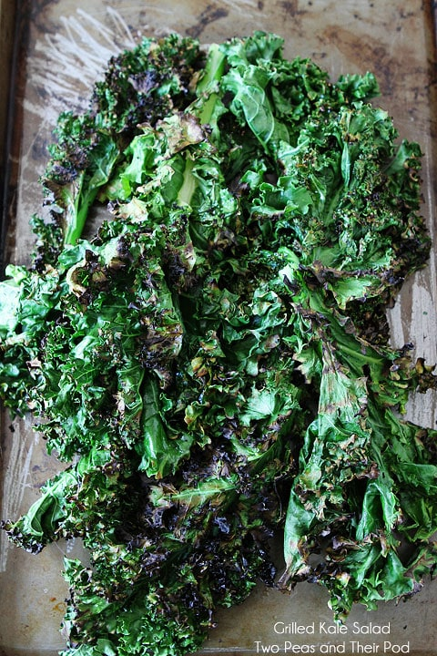 Grilled Kale Salad Recipe on twopeasandtheirpod.com Grilled kale is amazing!