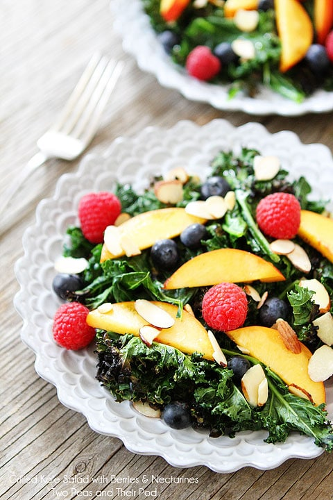 Grilled Kale Salad with Berries & Nectarines Recipe on twopeasandtheirpod.com