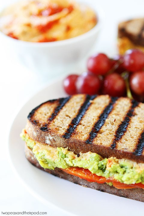 Roasted Red Pepper Hummus, Avocado, & Feta Sandwich Recipe on twopeasandtheirpod.com