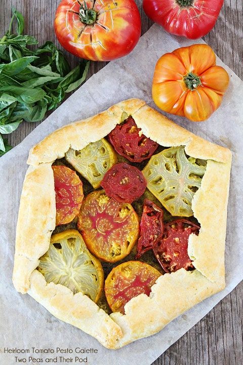 Heirloom Tomato Pesto Galette on twopeasandtheirpod.com #recipe
