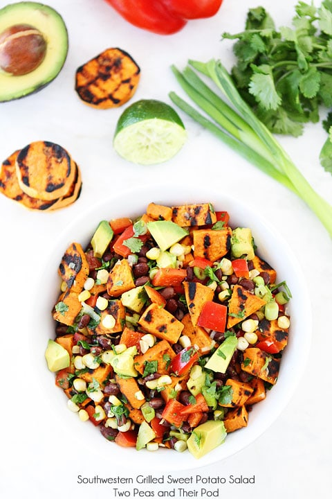 Southwestern Grilled Sweet Potato Salad on twopeasandtheirpod.com Love this summer salad!