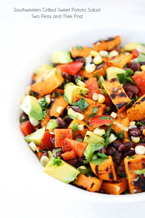 Southwestern Grilled Sweet Potato Salad Recipe on twopeasandtheirpod.com Love this summer salad!