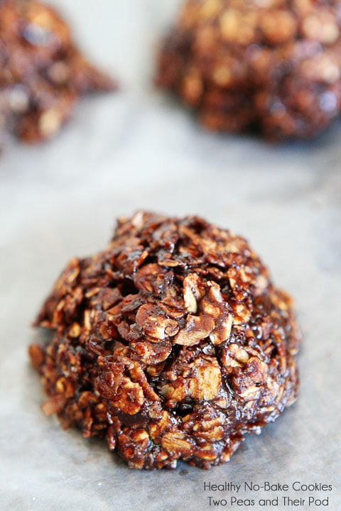Healthy No-Bake Cookie Recipe on twopeasandtheirpod.com You don't have to turn on your oven to make these healthy and delicious cookies!