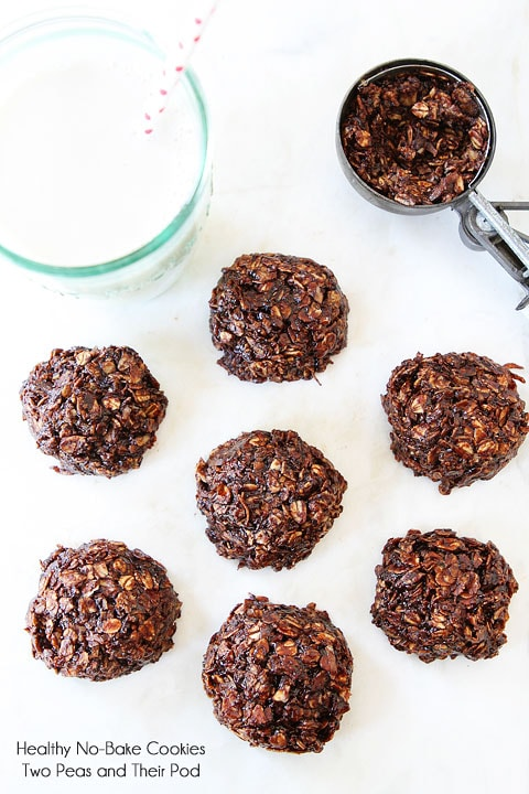 Healthy No-Bake Cookie Recipe on twopeasandtheirpod.com These cookies are gluten-free, vegan, and SO good!