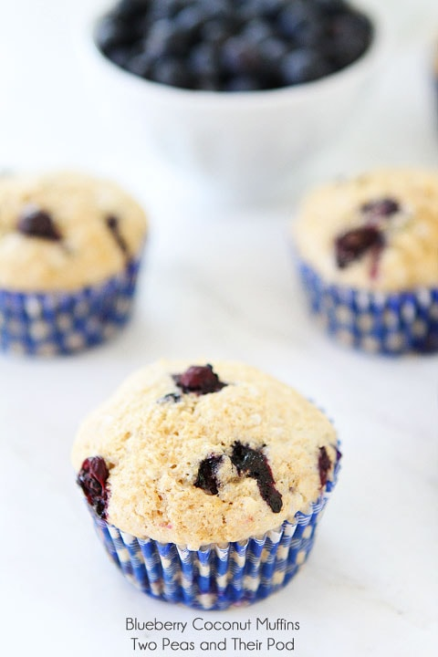 Blueberry Coconut Muffins on twopeasandtheirpod.com